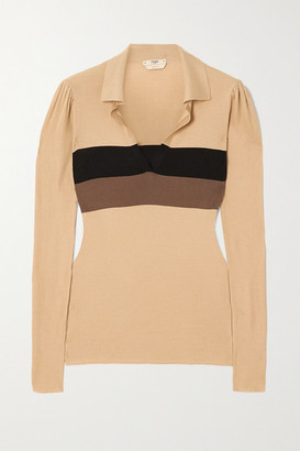 Fendi Striped Ribbed Silk Sweater - Brown