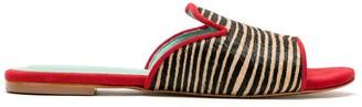 Blue Bird Shoes Zebra Print Slides