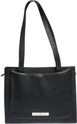 Aigner Black Matt Leather Logo Plaque Zip Tote