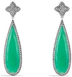 David Yurman Quatrefoil Drop Earrings With Chrysoprase And Gray