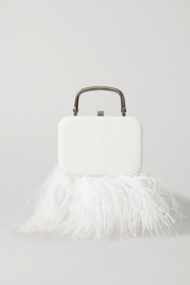 16Arlington Ralphie Feather-trimmed Textured-leather Tote - White