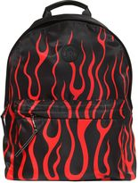 John Richmond Flame Print Nylon Canvas Backpack