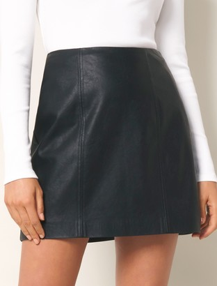 Forever New Peyton Seamed Faux Leather Mini Skirt - Black - 4