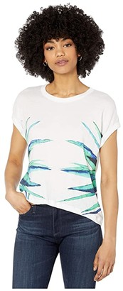 Chaser Agave Gauzy Cotton Crew Neck Roll Sleeve Tee (White) Women's Clothing