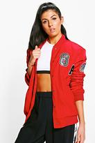 Boohoo Amelia Padded Varsity Badged Bomber Jacket red