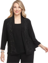R & M Richards R&M Richards Plus Size Cardigan, Beaded Open Front