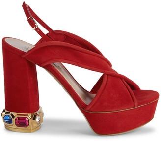 Casadei Jewel-Embellished Suede Platform Slingback Sandals