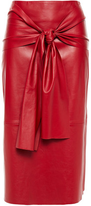 Joseph Tie-front Leather Midi Skirt