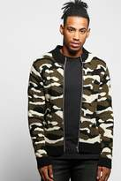 Boohoo Camo Zip Through Knitted Bomber