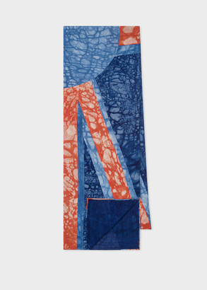 Paul Smith Blue And Orange Tie Dye Print Cotton Scarf