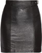 Saint Laurent Side-buckle leather mini skirt