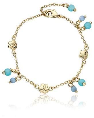 "Little Miss Twin Stars ""Cat-Eyed Bead"" 14k Gold-Plated Beads and Butterflies Bracelet"