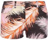 Emilio Pucci Feather-print Cotton-blend Shorts - Black