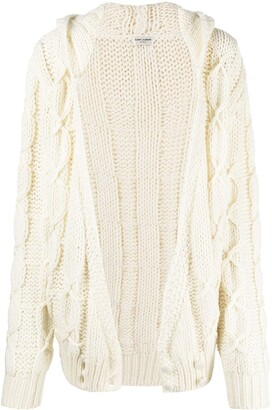 Saint Laurent Cable-Knit Hooded Cardigan