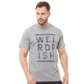 Weird Fish Mens Taped Branded T-Shirt Gunmetal Marl