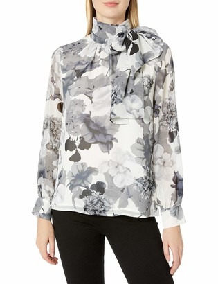 Vince Camuto Women's Long Sleeve Melody Floral Tie Neck Blouse
