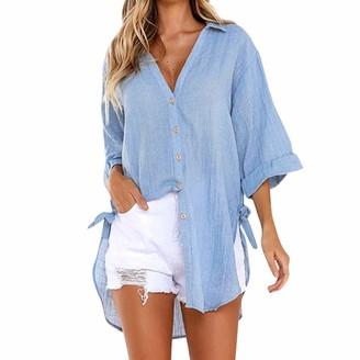 Tuduz Blouse TUDUZ Womens Loose Button Long Shirt Ladies Baggy Cotton Linens Half Sleeve Bow Casual Blouse Tops T-Shirt (Black XL=UK(16))
