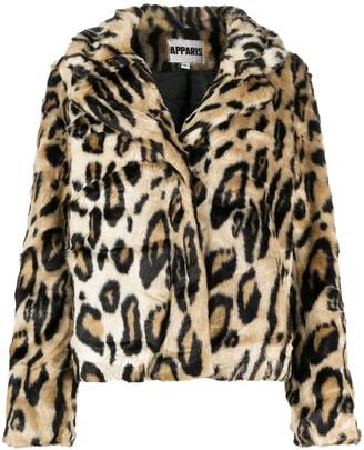 Apparis Leopard Print Faux-Fur Jacket