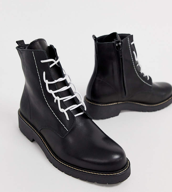 1b70d42313b Depp wide fit leather chunky lace up boots