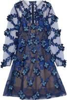 Marchesa Floral-Appliquéd Embroidered Tulle Mini Dress