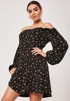 Missguided Tall Black Floral Print Bardot Tea Dress