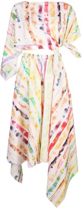 Rosie Assoulin Tie-Dye Print Two-Piece Dress