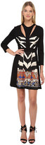Just Cavalli Fit and Flare Long Sleeve Dress