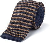 Gibson Navy And Camel Stripe Knit Tie