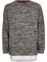 River Island Boys grey marl layered sweatshirt