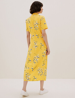 Marks and Spencer Floral Collared Midi Shirt Dress with Linen