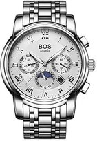 BOS Men's Mechanical -Tone Stainless Steel Waterproof Chronograph Watch with Link Bracelet