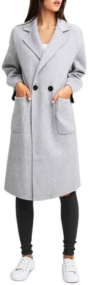 Belle & Bloom Publisher Grey Marl Double-Breasted Wool Blend Coat