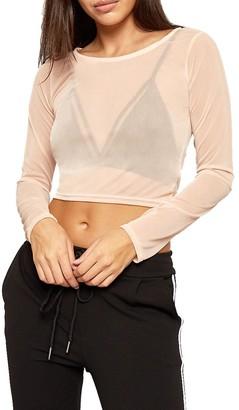 Haas Tradig HAAS Trading Ladies Full Sleeves Mesh Crop Top Womens See Through Sheer Net Crew Neck Top (Navy S/M (8-10))