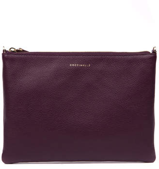 Coccinelle Plum Leather Crossbody Bag