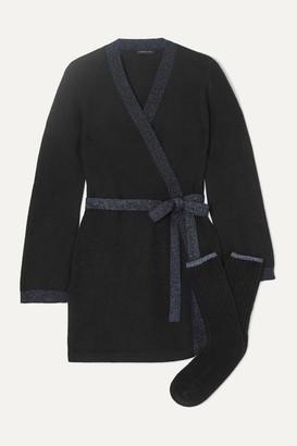 Morgan Lane Bella Lurex-trimmed Cashmere Robe And Socks Set - Black