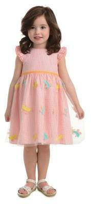 Laura Ashley Baby Girl's Butterfly Mesh Striped Cotton Dress