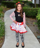 Beary Basics Red Stripe Santa Top & Candy Cane Petticoat - Toddler & Girls