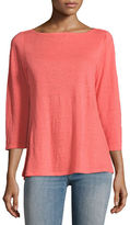 Eileen Fisher 3/4-Sleeve Organic Linen Jersey Top