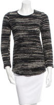 Etoile Isabel Marant Leather-Trimmed Crew Neck Sweater