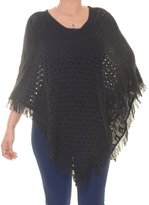 Style&Co. Style & Co. V-Neck Fringed Poncho (Large/XL, Deep )