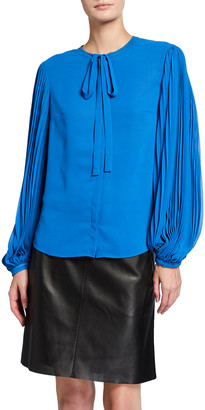 Akris Punto Pleated-Sleeve Neck-Bow Blouse