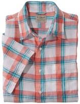 L.L. Bean Men's L.L.Bean Linen Shirt, Slightly Fitted Short-Sleeve Plaid
