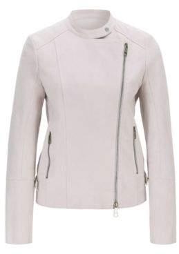 BOSS Biker jacket in super-soft suede with asymmetric zip