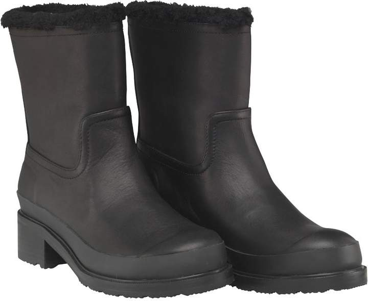 Hunter Womens Original Shearling Lined Ankle Boots Black