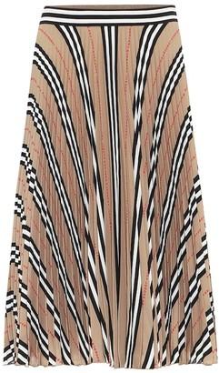 Burberry Icon Stripe pleated crepe skirt