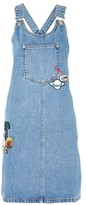 Topshop TALL Denim Badge Pinafore Dress