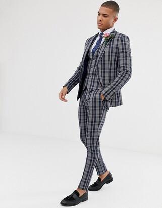 Asos Design DESIGN wedding skinny suit pants in navy plaid check