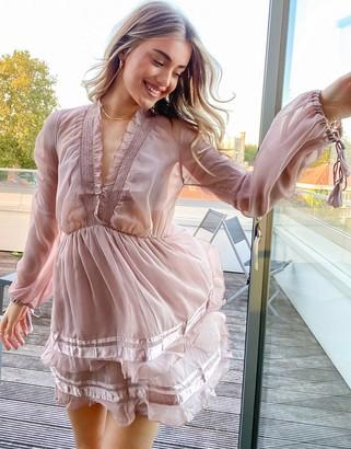 ASOS DESIGN soft mini ruffle dress with satin trim