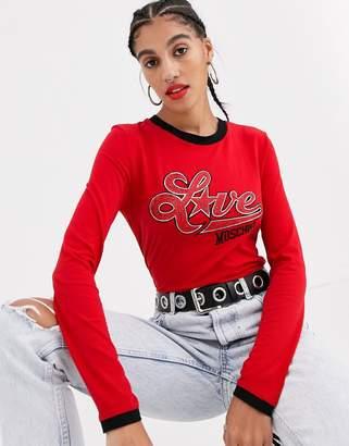 Love Moschino metallic logo long sleeved t-shirt-Red