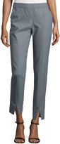 Halston Mid-Rise Cropped Pants, Heather Gray